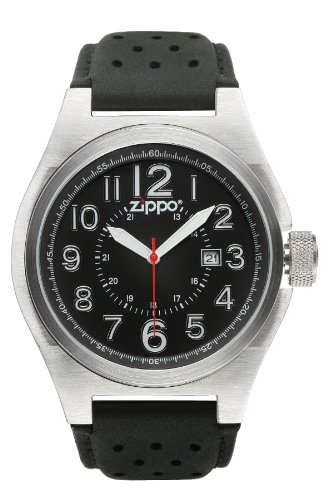 Zippo Casual And Simple Watch With Black Dial And Black Leather Strap front-38829