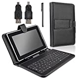 "SANOXY 7"" Tablet Stand with USB Keyboard - Black Faux Leather Carrying Case"
