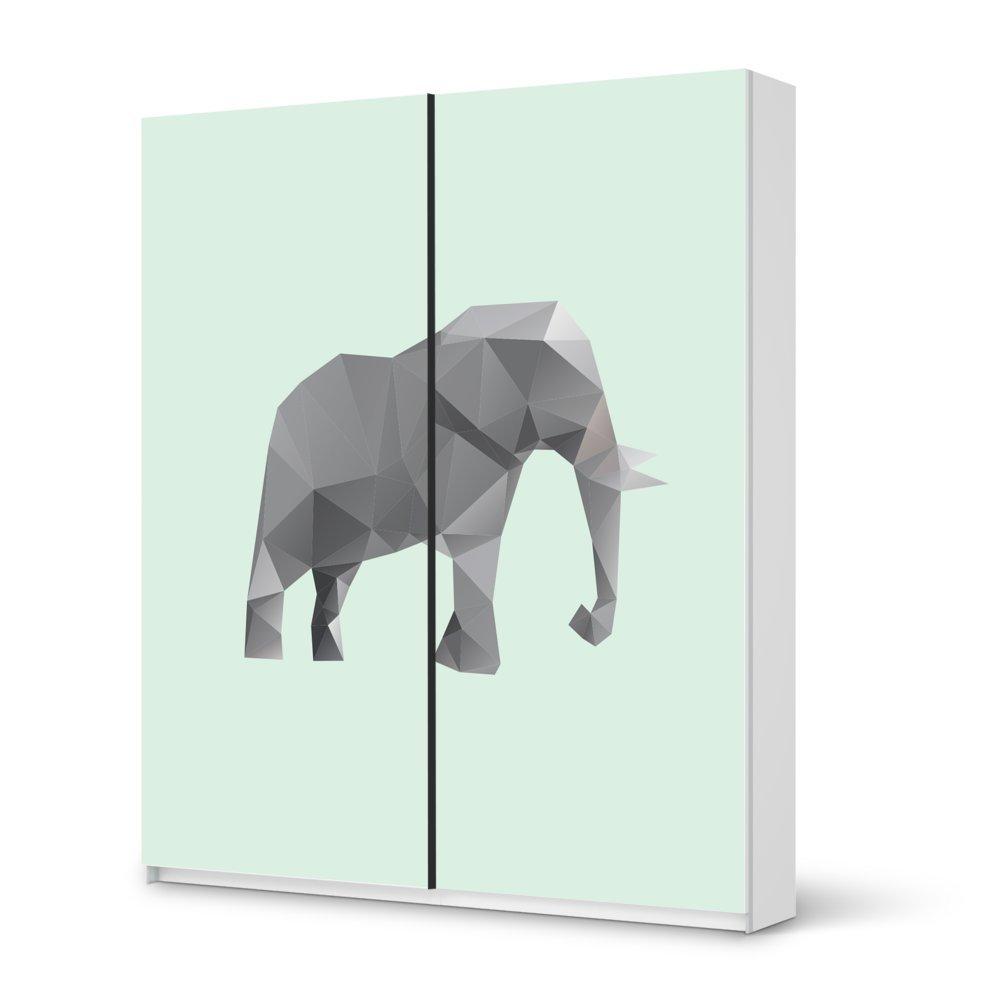 Folie IKEA Pax Schrank 236 cm Höhe – Schiebetür / Design Aufkleber Origami Elephant / Dekorationselement jetzt bestellen