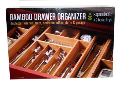 Expandable kitchen utility drawer organizer with