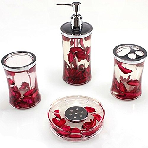 Deals For Ggty 4 Piece Bathroom Accessory Set Red Buy Bathroom Supplies Online