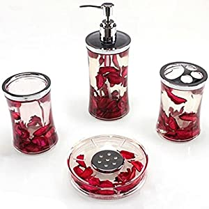 Ggty 4 piece bathroom accessory set red for Bathroom decor on amazon