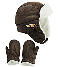 Little Me Boys Aviator Pilot Trapper Winter Hat and Mitten Brown Toddler 2T-4T