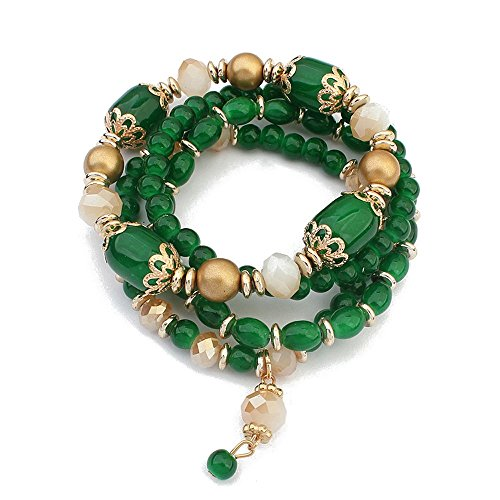 Winter's Secret European Style Palace Vintage Multilayer Elastic Alloy Beaded Wrist Pendant Emerald Green Stretch Bracelet