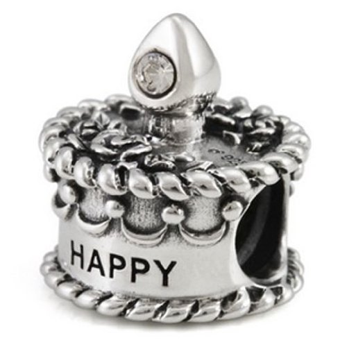 Ohm Silver CZ April Happy Birthday Cake Bead Charm