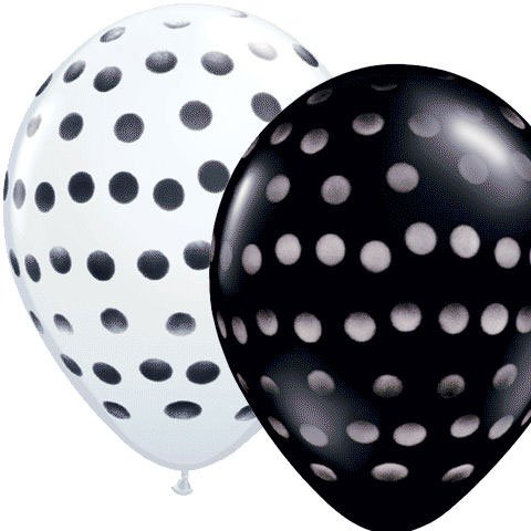"(12) Black & White Polka DOT 11"" Latex Balloons Party Decorations"