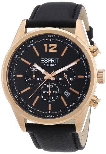 Esprit ES106351004 - Reloj analógico de cuarzo para hombre con correa de piel, color negro