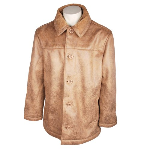 Fletcher & Lowe Direction Mens Sand Faux Sheepskin Coat in Size Medium