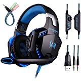 KOTION EACH G2000 Over-ear Gaming Headphone Headset With Mic Stereo Bass LED Light For PC Game Blue