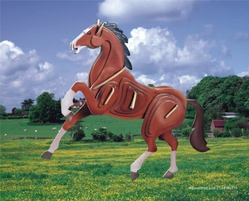 Puzzled Horse Pre-Colored Wooden 3D Puzzle Construction Kit