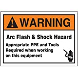 "Accuform Signs LELC370 Safety Label, Legend ""WARNING ARC FLASH & SHOCK HAZARD APPROPRIATE PPE AND TOOLS REQUIRED WHEN WORKING ON THIS EQUIPMENT"", 3.5"" Length x 5"" Width x 0.006"" Thickness, Adhesive Dura-Vinyl, Orange/Black on White"