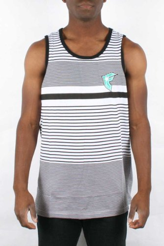 Famous Stars and Straps - Parallels Mens Tank Top in White/Black, Size: XX-Large, Color: White/Black