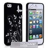 """iPhone 5 / 5S Tasche Blumen Schmetterling Silikon H�lle - Schwarz / Silbervon """"Yousave Accessories�"""""""