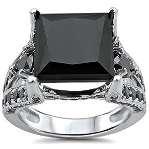 7.30ct Black Princess Cut Diamond Engagement Ring 14k White Gold