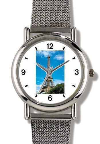 Eiffel Tower Photo - Watchbuddy® Elite Chrome-Plated Metal Alloy Watch With Metal Mesh Strap - Large Size (Men'S Or Jumbo Women'S Size)