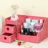 ZT0093 DIY Elegant Wooden Collapsible Office Supplies Desk Drawer Cosmetics Storage Organizer with 5 Compartments (Red)