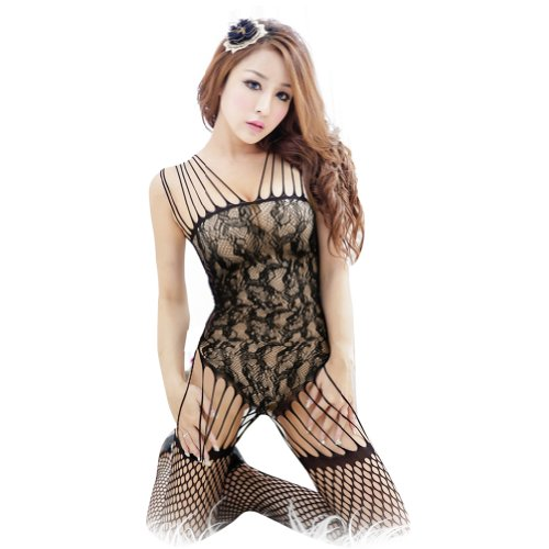 Crazycity Sexy Lingerie Babydoll Dress G-string Open Crotch FishNet Lingerie Stockings (Stockings:black)