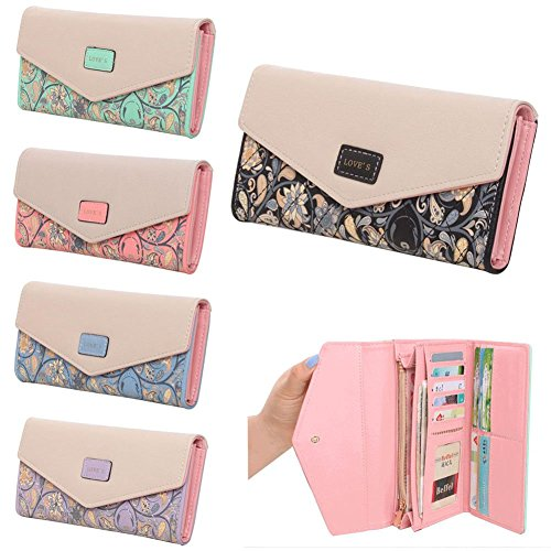 03. FUNOC Womens Envelope Leather Wallet Button Clutch Purse Long Handbag Zip Bag