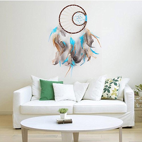 FUNOC Large Sun and Moon Dream Catcher with Feathers Wall Hanging Home Decoration
