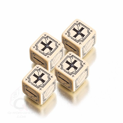 Q-Workshop: Set of 4 - Carved Ancient Fudge d6 Beige & Black Fudge Dice