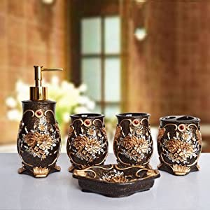 Bathroom accessory sets luxury floral for Floral bathroom accessories set
