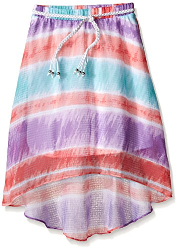 Amy Byer Big Girls' Printed High Low Skirt, Tie Dye Multi, Large