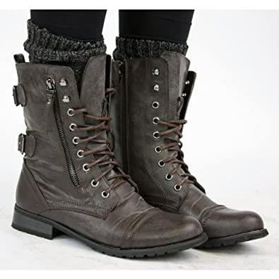 shoefashionista bottes femme militaire noir vintage chaussures plates bottines lacets marron. Black Bedroom Furniture Sets. Home Design Ideas