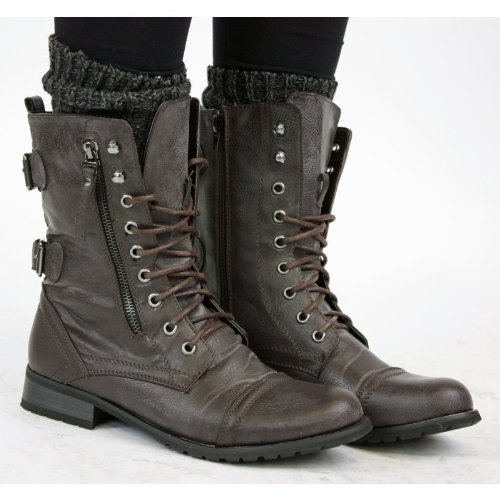 Womens Military Style Brown Lace Up Ladies Army