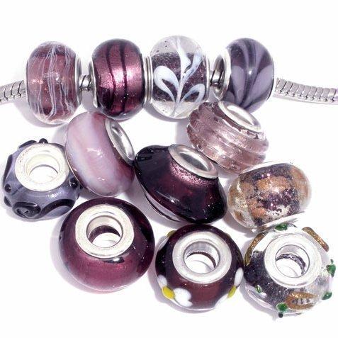 Ten (10) Pack of Assorted (Purple) Glass Lampwork Murano Glass Beads for European Style Bracelets