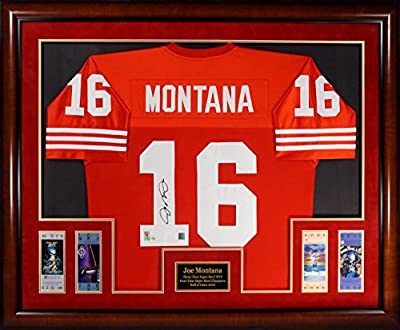 Joe Montana Autographed SF 49ers Jersey Framed w/Replica Super Bowl Tickets (Horizontal)