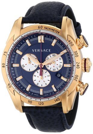 ヴェルサーチ Versace Men's VDB030014 V-Ray Rose Gold-Tone Watch With Blue Leather Strap 男性 メンズ 腕時計 【並行輸入品】