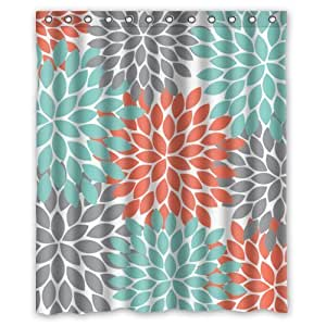 Orange Grey Green Dahlia Floral Pattern Shower Curtains Polyester
