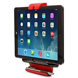 Aduro U-Grip Adjustable Universal Fridge / Wall Mount for Tablets, Apple iPad, Galaxy Tablet (Retail Packaging) (Black/Red)