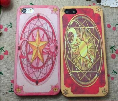 iPhone6/6s/6plus iPhone5/5s カードキャプターさくら アイフォン対応 専用 携帯ケース カバー 木之本桜 さくらカード クロウカード柄 (iPhone 6/6s, レッド:クロウカード)