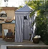 Striped Portable Changing Cabana Tent Patio Beach Pool Navy White
