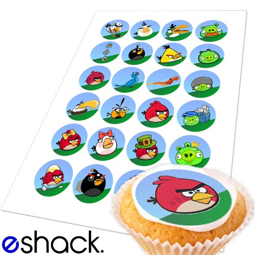 24 x Angry Birds Edible Cake Toppers (Edible Cupcake, Bun, Fairycake topper by eShack)