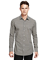 Autograph Pure Cotton Square Print Shirt