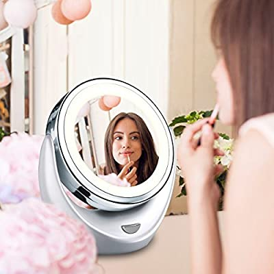 AccMart 5x/1x Double-Sided Magnification magnify Makeup Mirror 360 degree Rotation with LED Light