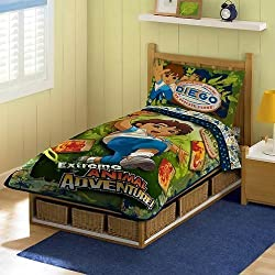 GO DIEGO GO ANIMAL ADVENTURES 4 PIECE TODDLER BEDDING SET CRIB COMFORTER NEW