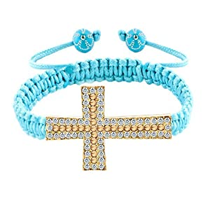 Pugster Topaz Yellow And Clear White Crystal Cross Aquamarine Blue String Adjustable Bracelet