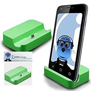 Green Micro USB Sync & Charge / Charging Desktop Dock Stand Charger For Samsung Galaxy Core SM-G386F LTE