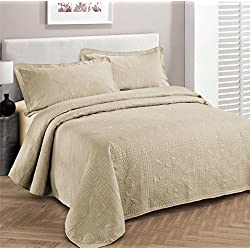 """Fancy Collection 3pc Luxury Bedspread Coverlet Embossed Bed Cover Solid Beige New Over Size 100""""x106"""" Full/queen"""