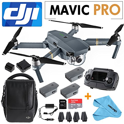 DJI Mavic Pro Collapsible Quadcopter+SanDisk 64GB Card+2 Intelligent Flight Batteries+Cleaning Cloth+Shoulder Bag,Car Charger