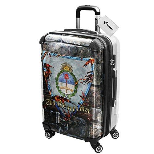 Stemma Argentina, Luggage Valigia Bagaglio Ultraleggero Trasportabile Rigido con 4 Route e Disegno Intercambiabile. Dimensione: Grande, L