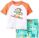 Carter's Toddler/Little Boys 2 Piece Rashguard Top & Trunks Set (3t, multi/Surfing Monkey)