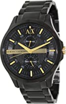 Armani Exchange Black Dial Black PVD Mens Watch AX2121