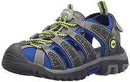 Hi-Tec Shore JR Water Shoe (Little Kid/Big Kid), Grey/Cobalt/Limoncello, 2 M US Little Kid