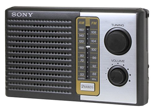 "Sony 2 Band Receiver Portable AM & FM Transistor Radio with Large Dial Panel, 3.75"" Speaker, Earphone Jack, Carry Strap, Easy Tuner Knob, Headphone Jack & Telescopic Ferrite Bar Swivel Antenna - Battery Powered"
