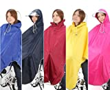 [Amagoo] 自転車用 レインコート ポンチョタイプ カラー5色 【ブルー/レッド/イエロー/ネイビー/ピンク】 男女兼用 フリーサイズ (イエロー(黄))