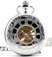 Infinite U Pantalla Tiempo dual Hueco Esqueleto Acero Mano-viento Reloj de bolsillo mecánico Plateado